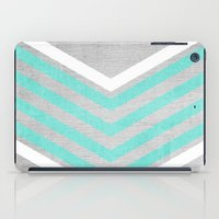 grey iPad Cases featuring Teal and White Chevron on Silver Grey Wood by Tangerine-Tane