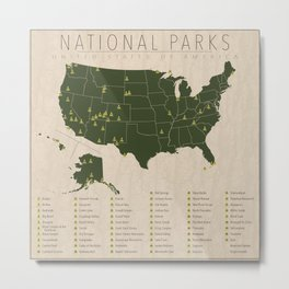 US National Parks w/ State Borders Metal Print