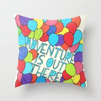 adventure is out there Throw Pillows featuring Adventure by Prince Arora