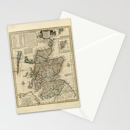 Map of Scotland by Emanuel Bowen (1752) Stationery Cards