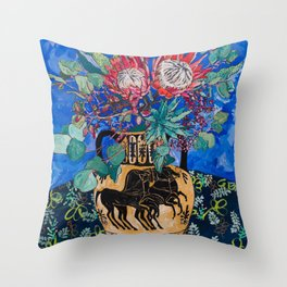 Painterly Bouquet of Proteas in Greek Horse Urn on Blue Throw Pillow