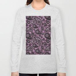 Violet Purple Paisley Pattern Long Sleeve T-shirt