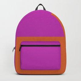 Fuschia Pink & Orange Color Block  Backpack