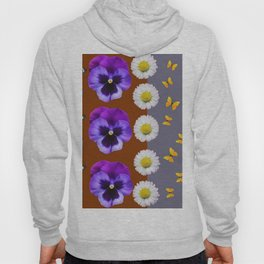 BROWN & PURPLE PANSY WHITE DAISY BUTTERFLIES SPRING Hoody