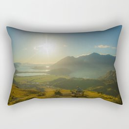 lake wanaka covered in blue colors new zealand beauties and mountains at sunrise person Rectangular Pillow
