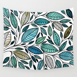 Leaf Illustration - Blue Green - P07 010 Wall Tapestry