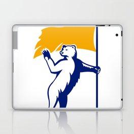 Polar Bear Holding Flag Waving Mascot Laptop & iPad Skin