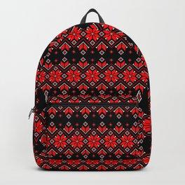 Wellspring - Star Alatyr - Ethno Ukrainian Traditional Pattern - Slavic Symbol - Large Scale Red Black Backpack