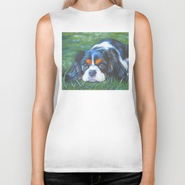 Beautiful Tricolour Cavalier King Charles Spaniel Dog Painting by L.A.Shepard Biker Tank