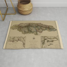 Map Of Jamaica 1775 Rug