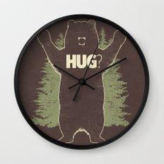 Bear Hug? (dark version) Wall Clock