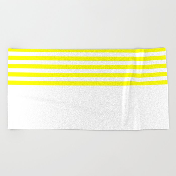 Horizontal Stripes (Yellow/White) Beach Towel