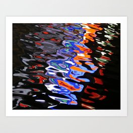 Abstract Lights on River Water in Japan 2 Art Print