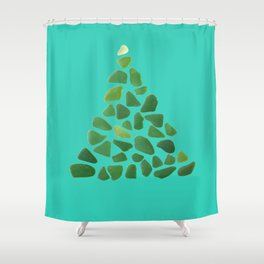 Green Sea Glass Tree on Turquoise #seaglass #Christmas Shower Curtain