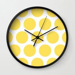 Large Polka Dots: Yellow Wall Clock