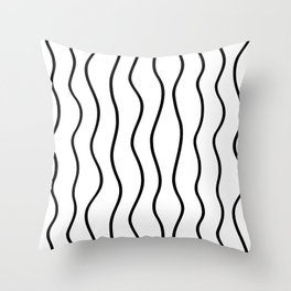 Modern White and Black Vertical Wave Pattern // Squiggly Hand Drawn Lines Throw Pillow