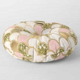 Rose gold blush mermaid scales Floor Pillow