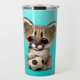Cougar Cub With Football Soccer Ball Travel Mug
