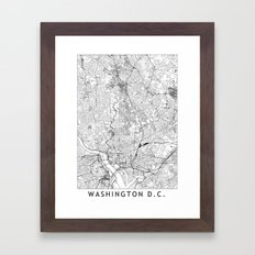 Washington D.C. White Map Framed Art Print