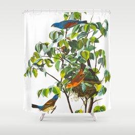 Blue Grosbeak Bird Shower Curtain
