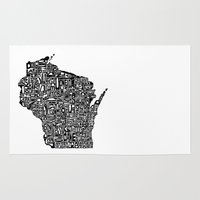 wisconsin Area & Throw Rugs featuring Typographic Wisconsin by CAPow!