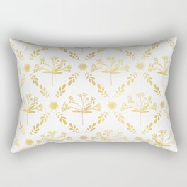 Luxe Gold Foil Floral Lattice Seamless Vector Pattern, Hand Drawn Damask Rectangular Pillow