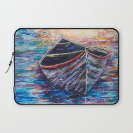 Wooden Boat at Sunrise - original oil painting with palette knife #society6 #decor #boat Laptop Sleeve