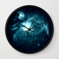 nebula Wall Clocks featuring Orion nebula : Teal Galaxy by 2sweet4words Designs