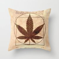 marijuana Throw Pillows featuring vitruvian marijuana by Emekli Astronot