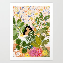 Bathing with Plants Art Print