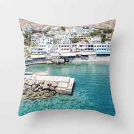 Travel Photography Photo Print | White Greek Village Blue Sea Art | Crete Island Nature Landscape Throw Pillow