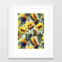 sunshine Framed Art Prints featuring Sunflowers Forever by micklyn