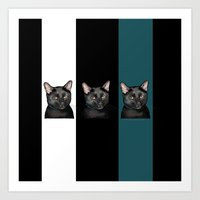 Three Black Cats with a White/Black/Green Background Art Print