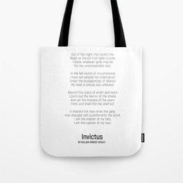 Invictus by William Ernest Henley #minimalist #poem Tote Bag