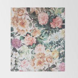 Vintage green pink yellow watercolor roses floral Throw Blanket