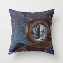 Deep Sea Diving Cat Throw Pillow