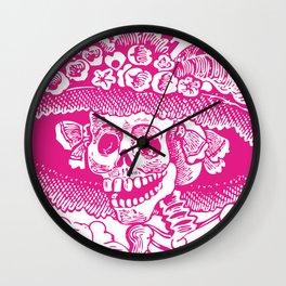 Calavera Catrina | Pink and White Wall Clock