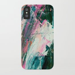 Meditate [2]: a vibrant, colorful abstract piece in bright green, teal, pink, orange, and white iPhone Case