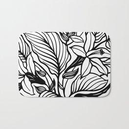 White Black Floral Minimalist Bath Mat