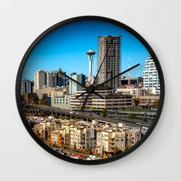 Seattle Space Needle and Aquarium Wall Clock