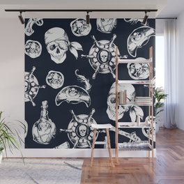 Navy Blue Pirate Pattern Wall Mural