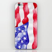 american flag iPhone & iPod Skins featuring American Flag by Bridget Davidson