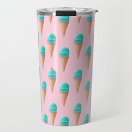 Blue & Pink Ice Cream Cone Pattern Travel Mug