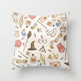 Wizarding Pattern Throw Pillow