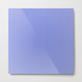 Cobalt Blue and White Vertical Thin Pinstripe Pattern Metal Print