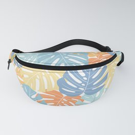 Monstera leaves Colorful Jungle leaves Palm leaves Tropical art Fanny Pack