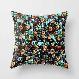 Yellow Blue Flowers Throw Pillow