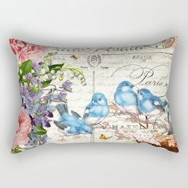 Vintage Postcard with Bluebirds Rectangular Pillow