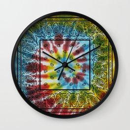 Tie Dye Bandana with Black Paisley Pattern Wall Clock