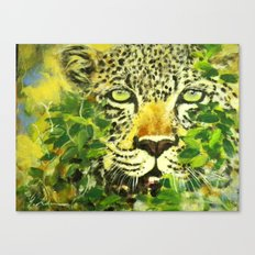 Wildlife Painting Series 3 - Leopard in preying pose Canvas Print
